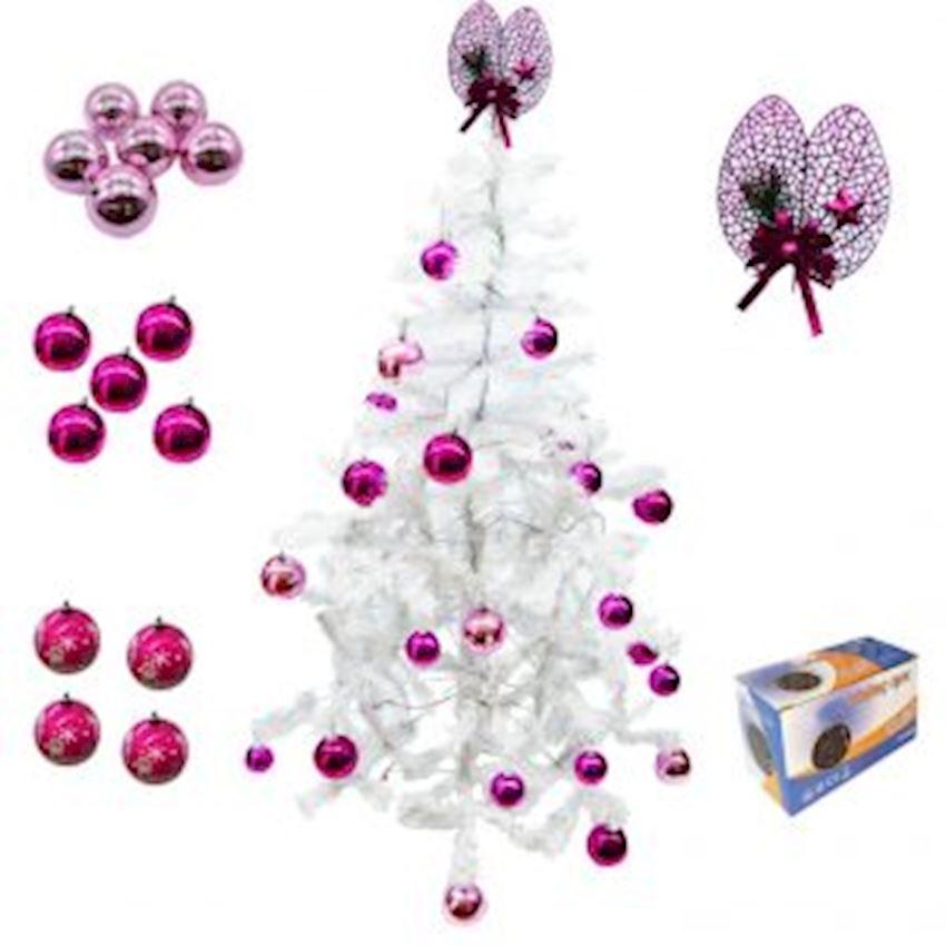 39 Piece Christmas Tree Set: White Pine Tree Pink Ornaments White Light Christmas Decoration Supplies