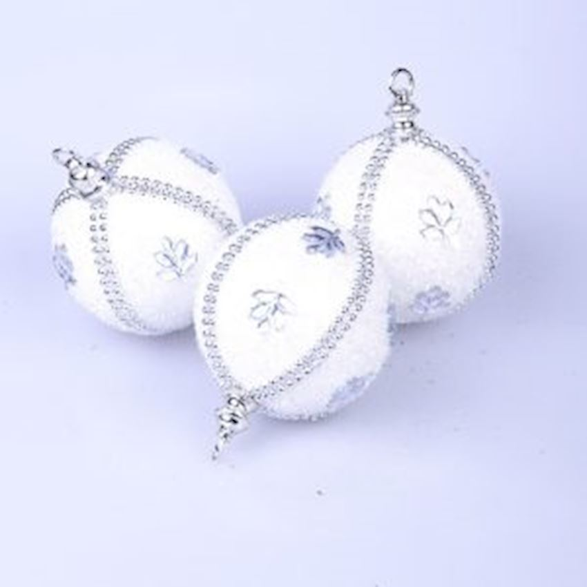 3in Fancy Foamy Top White 8cm Christmas Decoration Supplies
