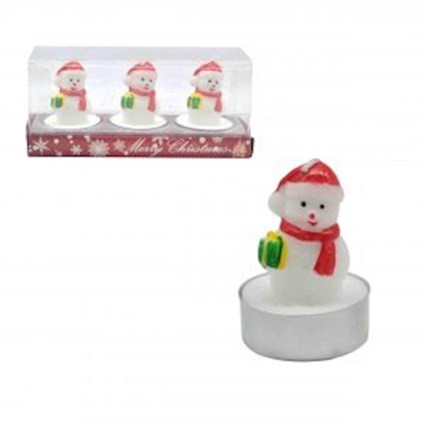 3pcs Boxed Snowman Candle 6cm Christmas Decoration Supplies