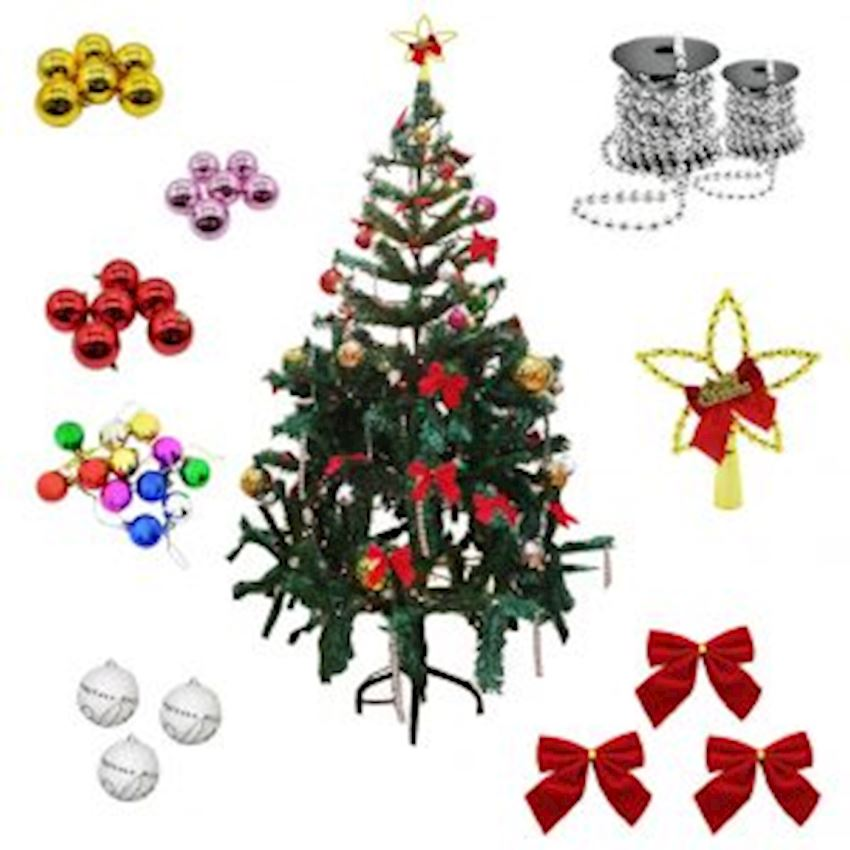 40 Pcs Luxury Christmas Tree Ornament Set and 100pcs Rice Light Christmas Decoration Supplies