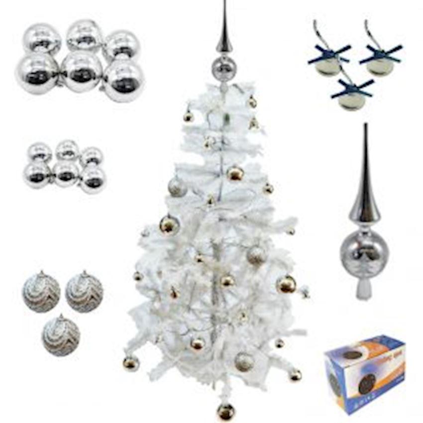 42 Piece Christmas Tree Set: White Pine Tree Silver Ornaments White Light Christmas Decoration Supplies