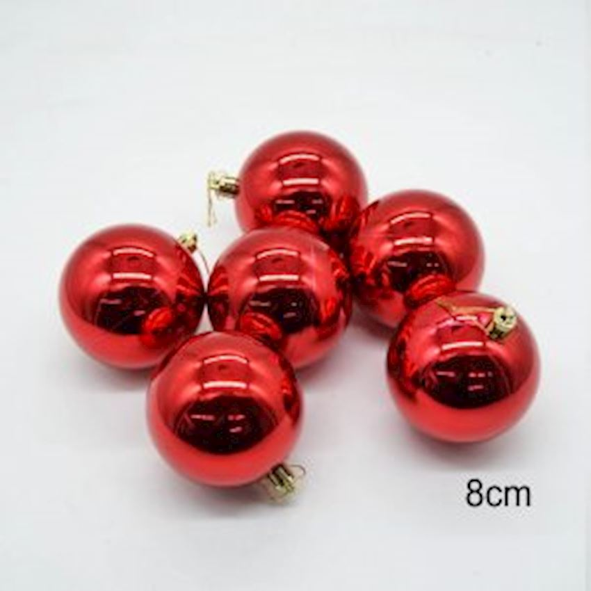 6 Pieces Bright Christmas Ball Christmas Tree Ornament Red 8cm Christmas Decoration Supplies