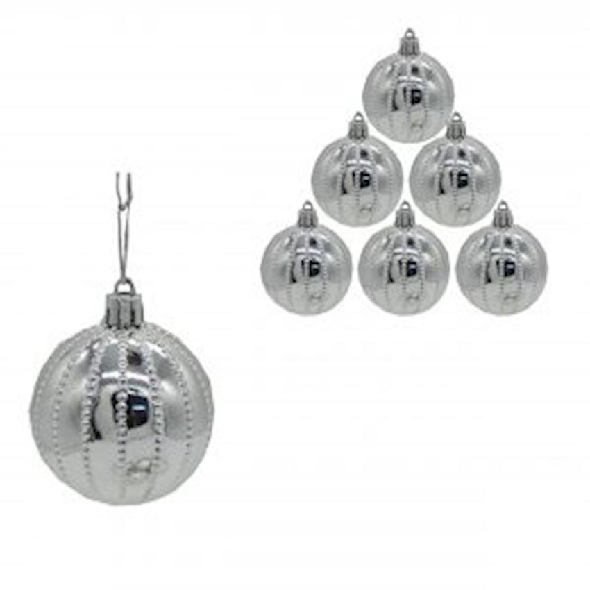 6 Point Dot Cici Top Silver 8cm Christmas Decoration Supplies