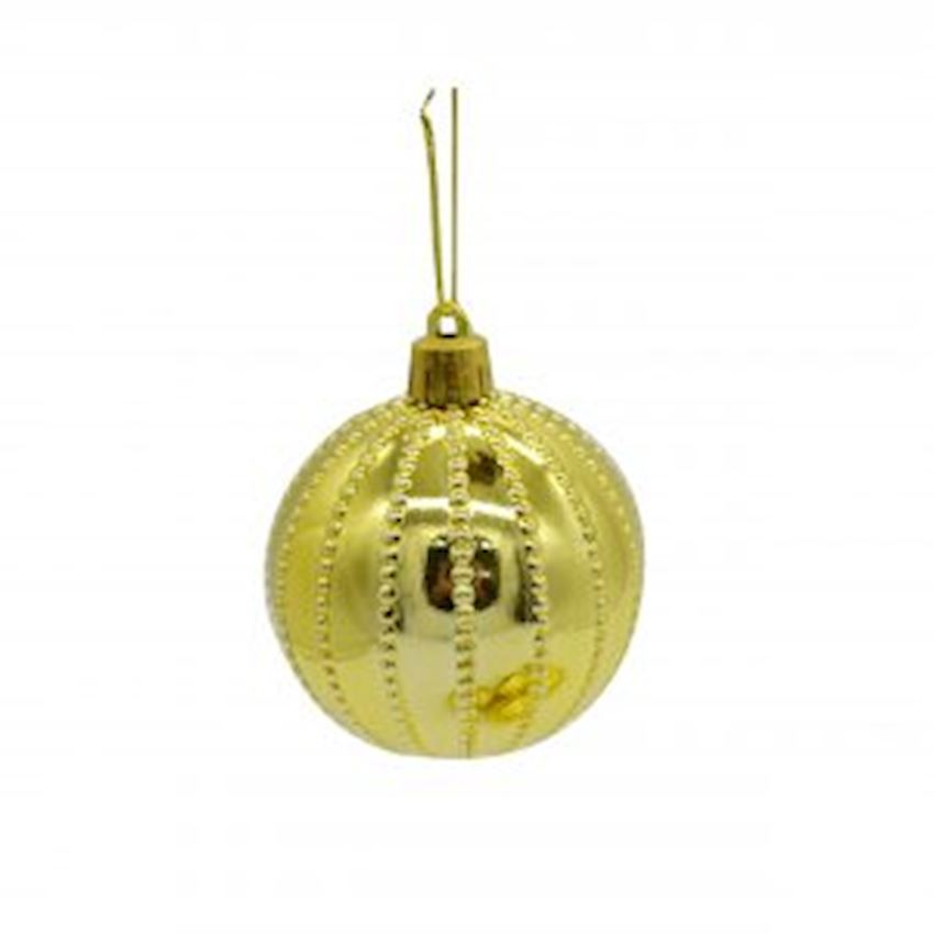 6 Point Dot Striped Top Gold 6cm Christmas Decoration Supplies