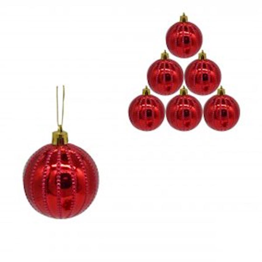 6 Point Dotted Striped Top Red 6cm Christmas Decoration Supplies