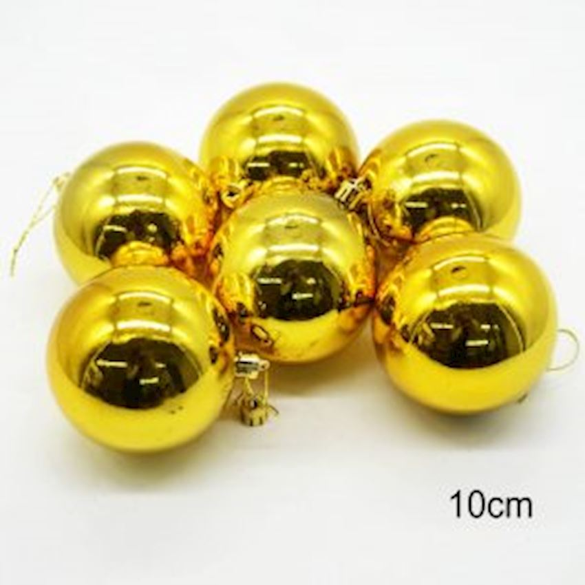 6 Shiny Sweet Ball Christmas Tree Decoration Gold 10cm Christmas Decoration Supplies