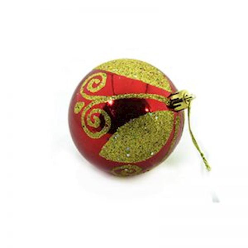 6 Silvery Sweet Ball Christmas Tree Decoration Red 8cm Christmas Decoration Supplies