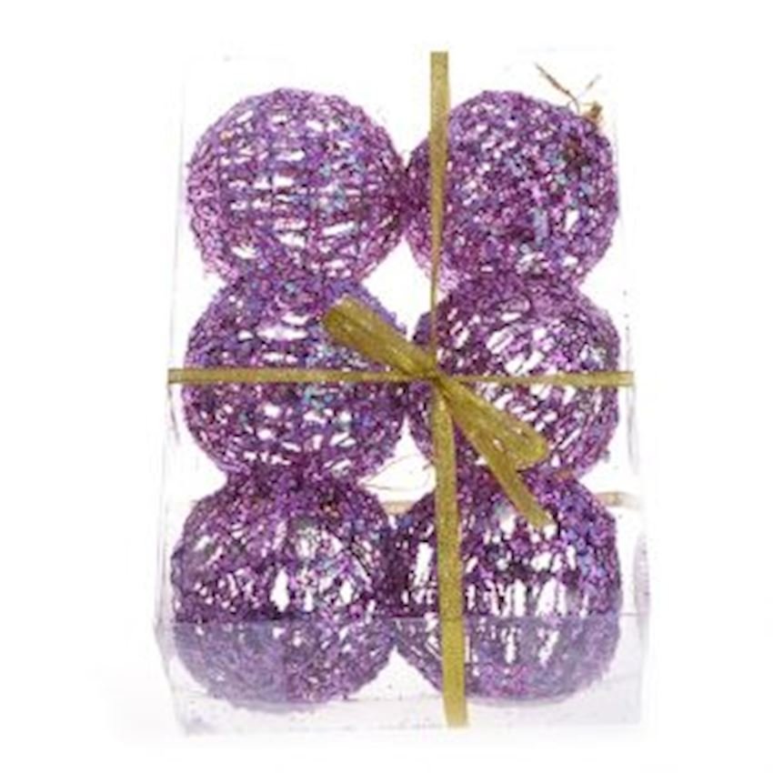 6 String String Top Christmas Ornament 6cm Lilac Christmas Decoration Supplies