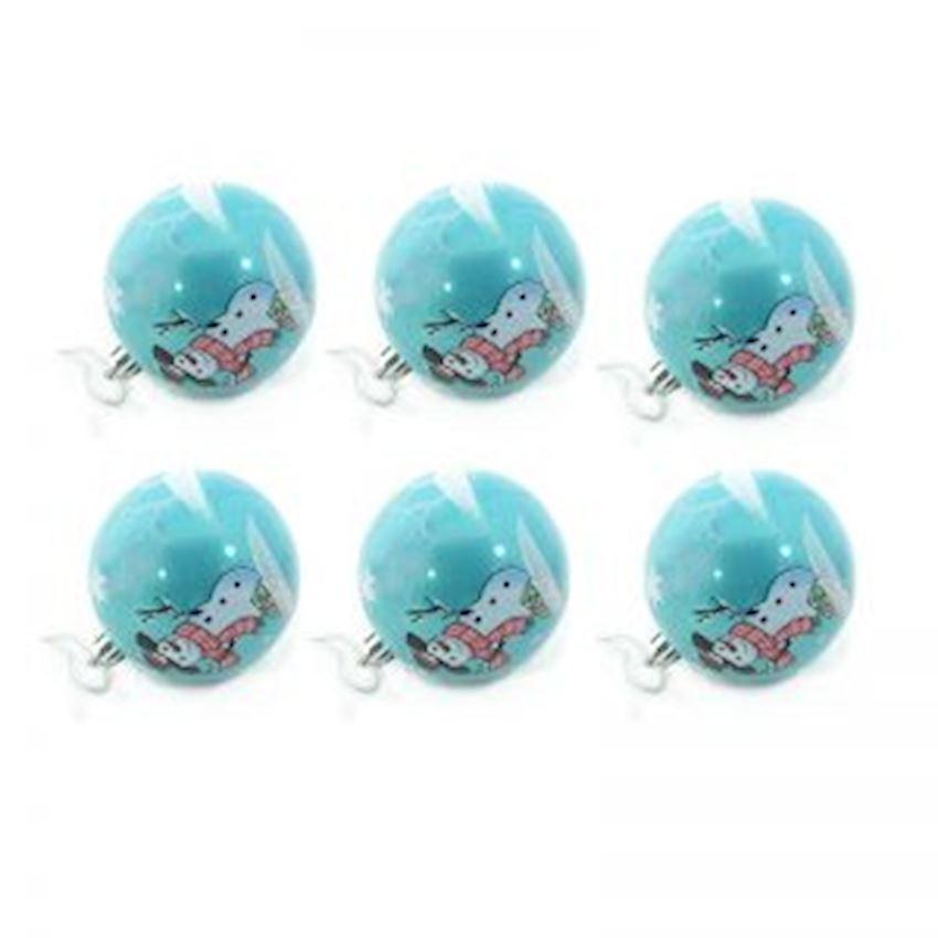 6pcs Snowman Cute Ball Christmas Tree Decoration Blue 8cm Christmas Decoration Supplies