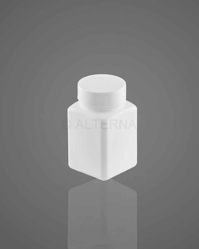 80 ml HDPE Square Pill Bottle with Alu. Seal Cap
