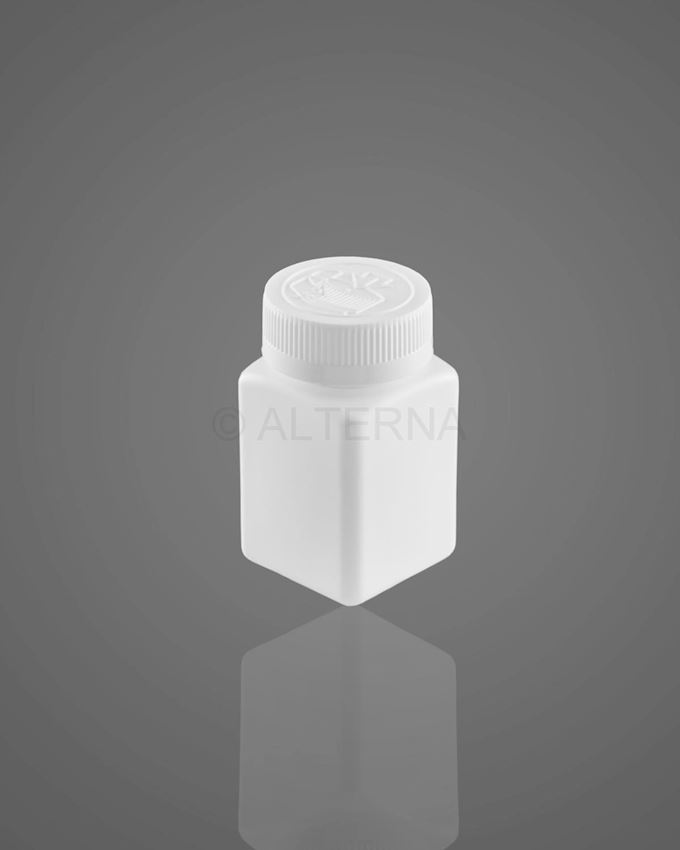 80 ml HDPE Square Pill Bottle with Child Resistant Cap