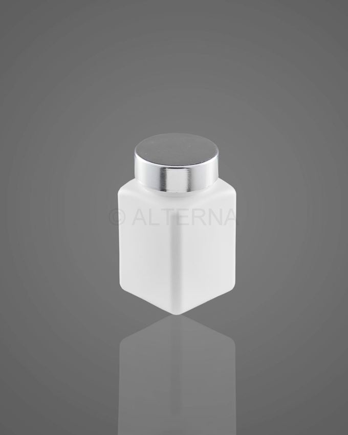 80 ml HDPE Square Pill Bottle with Metal Cap