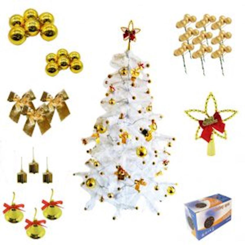 90 Piece Christmas Tree Set: White Pine Tree Gold Ornaments White Light Christmas Decoration Supplies
