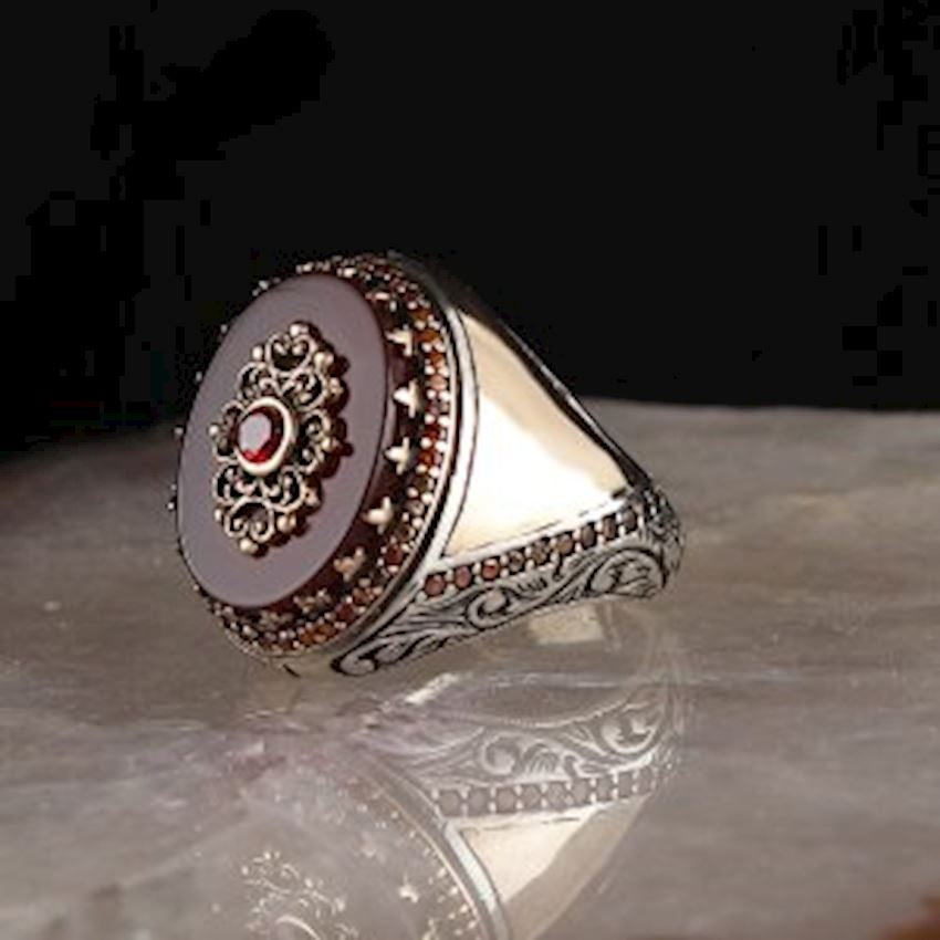 925 Sterling Silver Men Ring with Agate