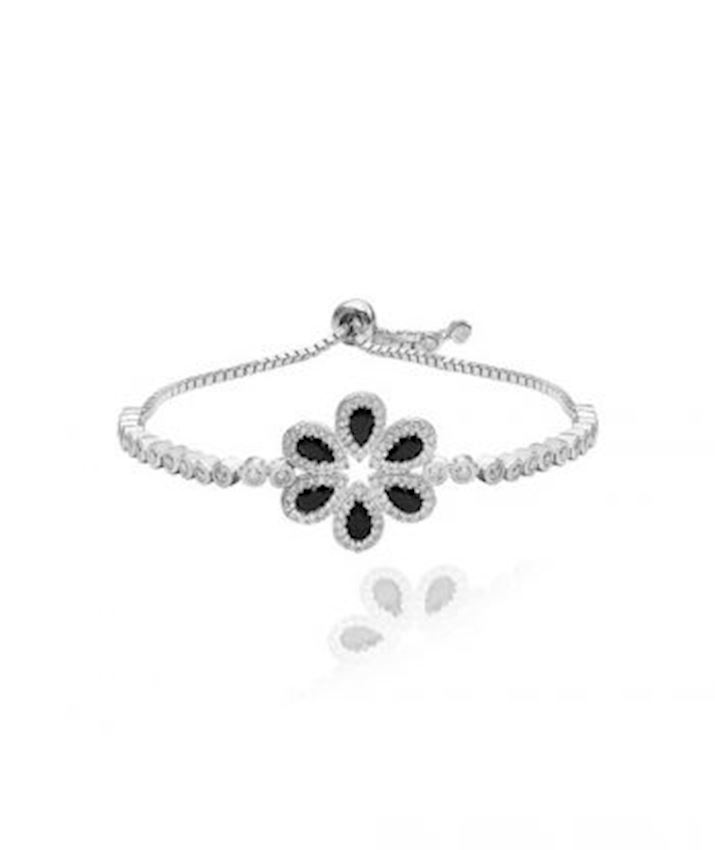 Adjustable Bracelet Big Flower Bracelet, Black