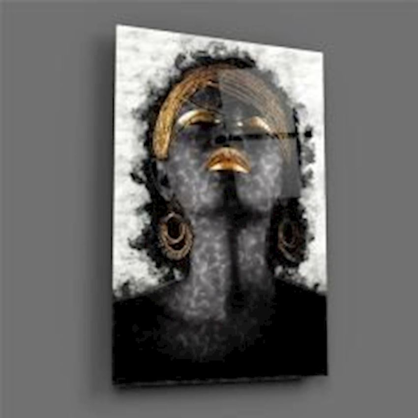 African Woman Portrait on Glass Table
