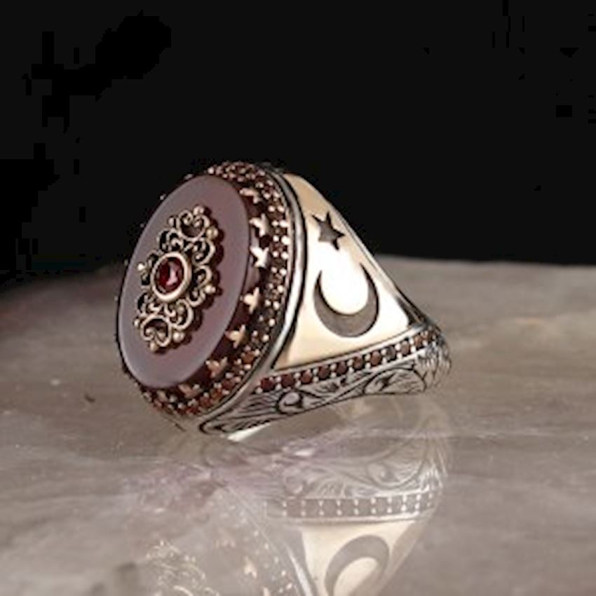 Agate Sterling Silver 925 Sterling Silver Men Ring