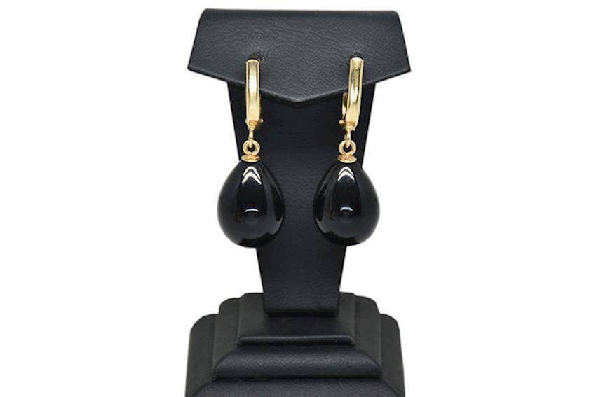 Ahsen 14K Gold Black Majorica Earrings