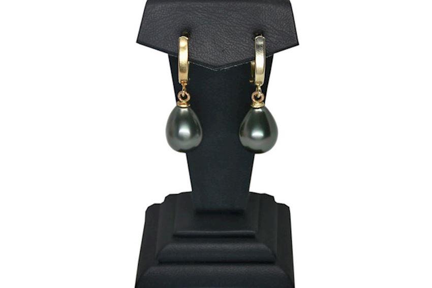 Ahsen 14K Gold Majorca Drop Black Pearl Earrings