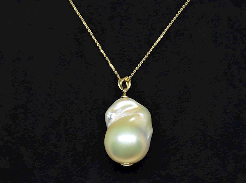 Ahsen 14K Gold Natural Baroque White Freshwater Pearl Pendant-AH-00015