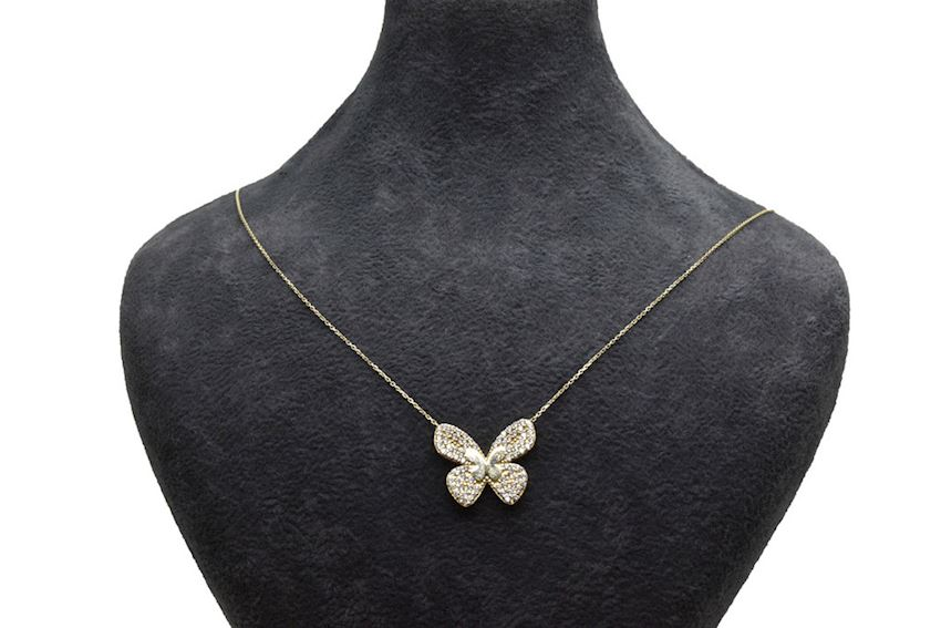 Ahsen 14K Gold Necklace Butterfly Model
