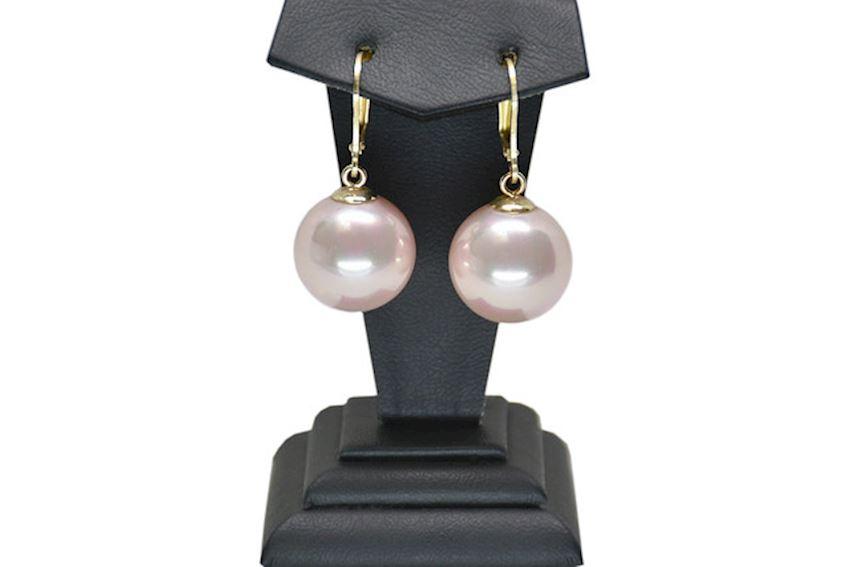 Ahsen 14K Gold Pink Majorica Earrings AH-00117