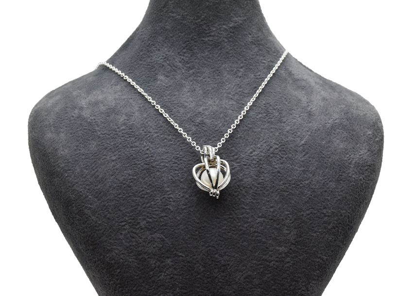 Ahsen 925 Sterling Silver Cage Natural Freshwater Pearl Pendant