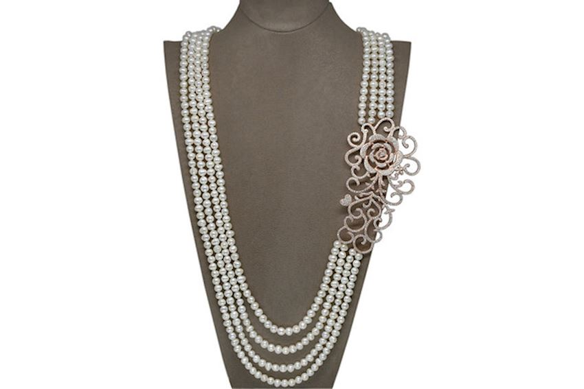 Ahsen 925 Sterling Silver Pearl Necklace (Rose Brooch)