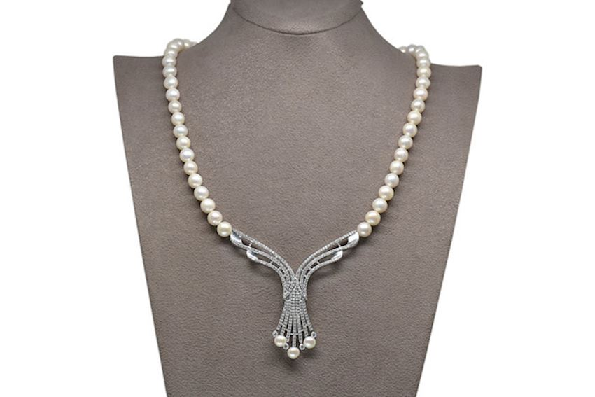 Ahsen 925 Sterling Silver White Pearl Necklace