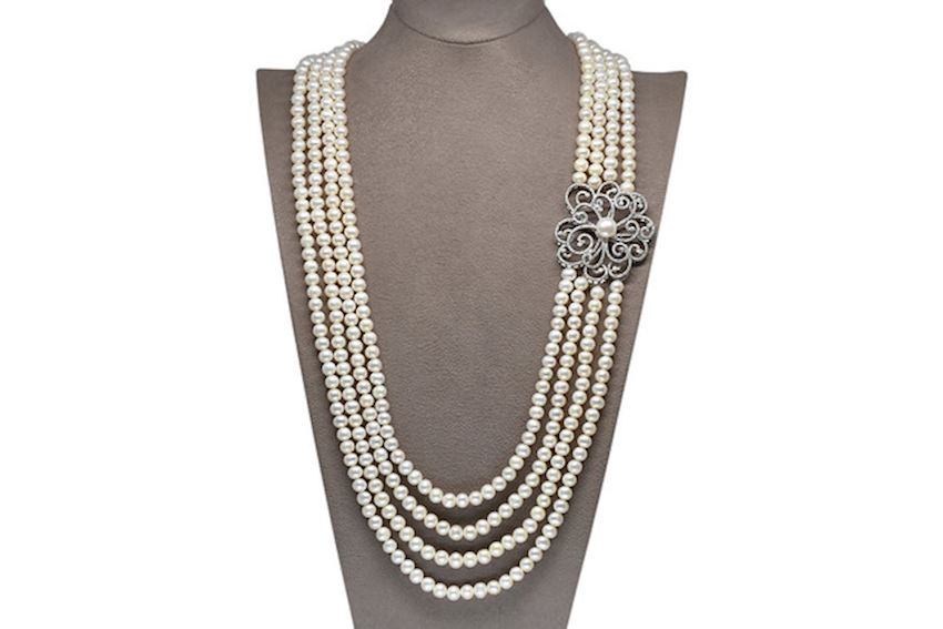Ahsen 925 Sterling Silver White Pearl Necklace (Silver Brooch)