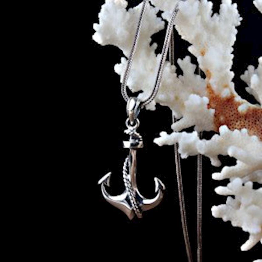 Anchor Model Men's Silver Necklace