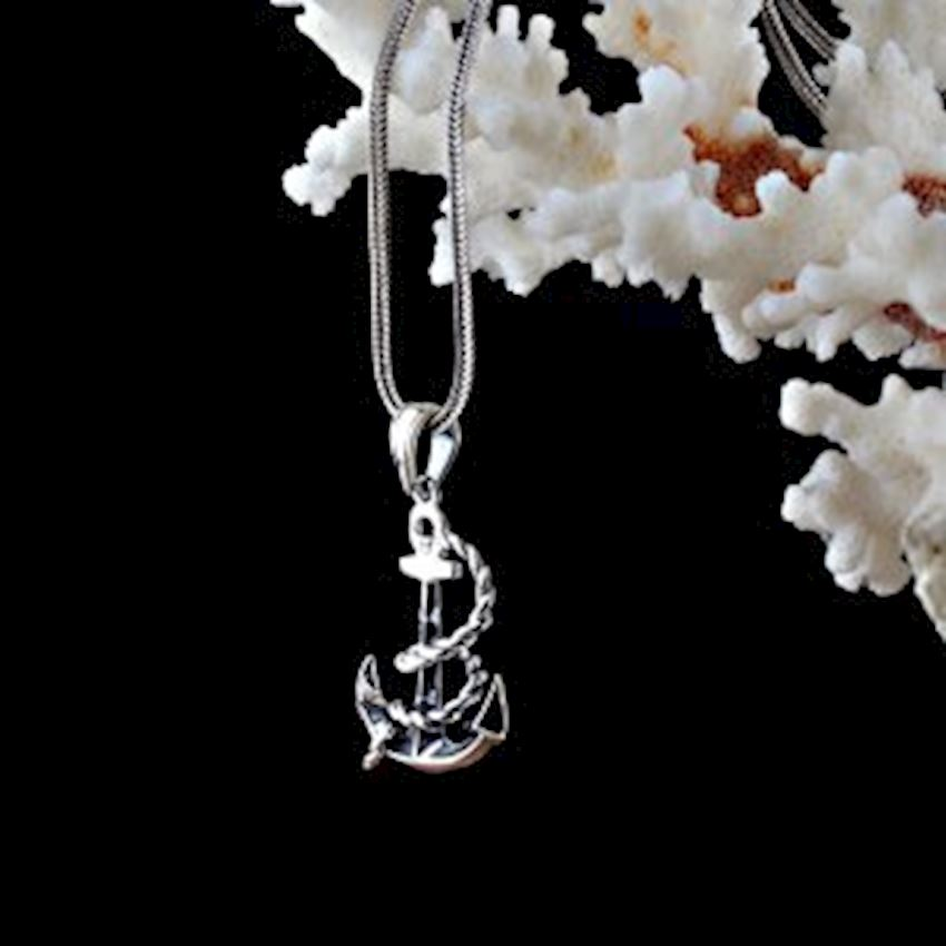 Anchor Model Men's Silver Necklace
