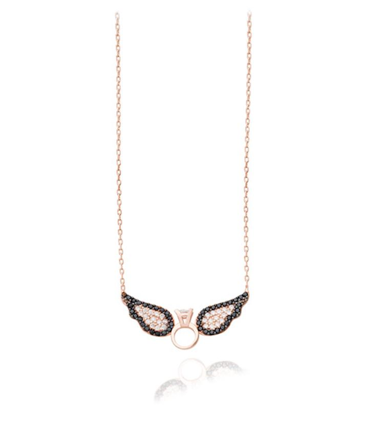 Angel Wing Necklace with a Wedding Ring, Black
