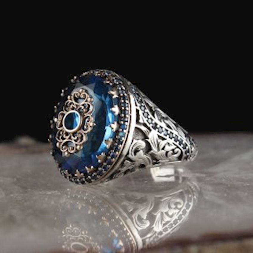 Aqua Blue Zirkon 925 Sterling Silver Men Ring