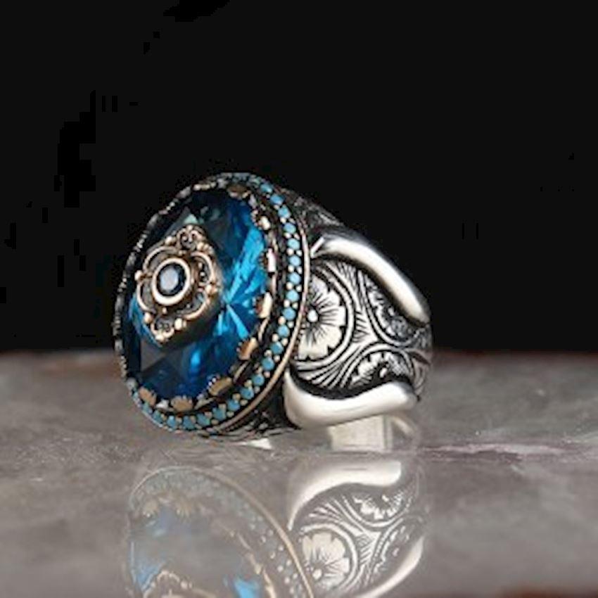 Aqua Blue Zirkon Men Sterling Silver Ring