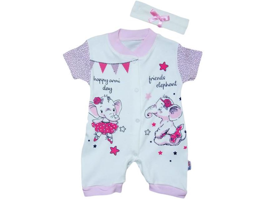Baby Girl Jumpsuit Cub Elephant Print