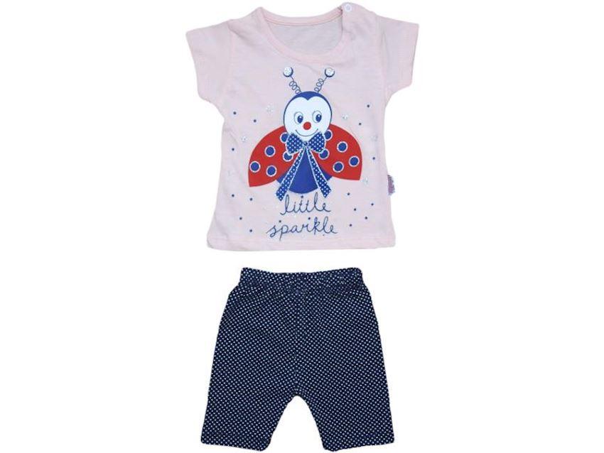 Baby Girl Suit Ladybug Printed Short Sleeve