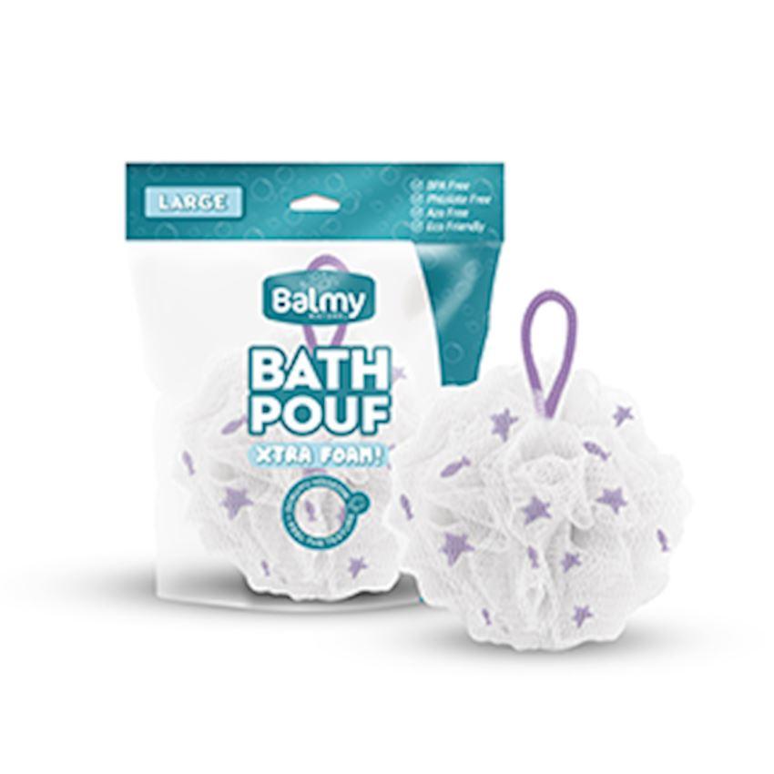 Bath Pouf Large White-Purple Bath Brushes, Sponges & Scrubbers