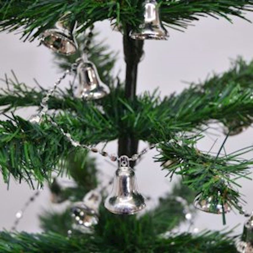 Bell Lined Christmas Tree Ornament Silver Christmas Decoration Supplies