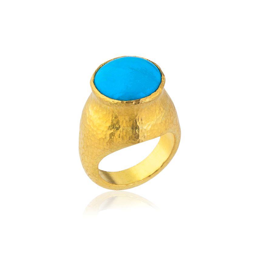 Blue Stone Round Ring