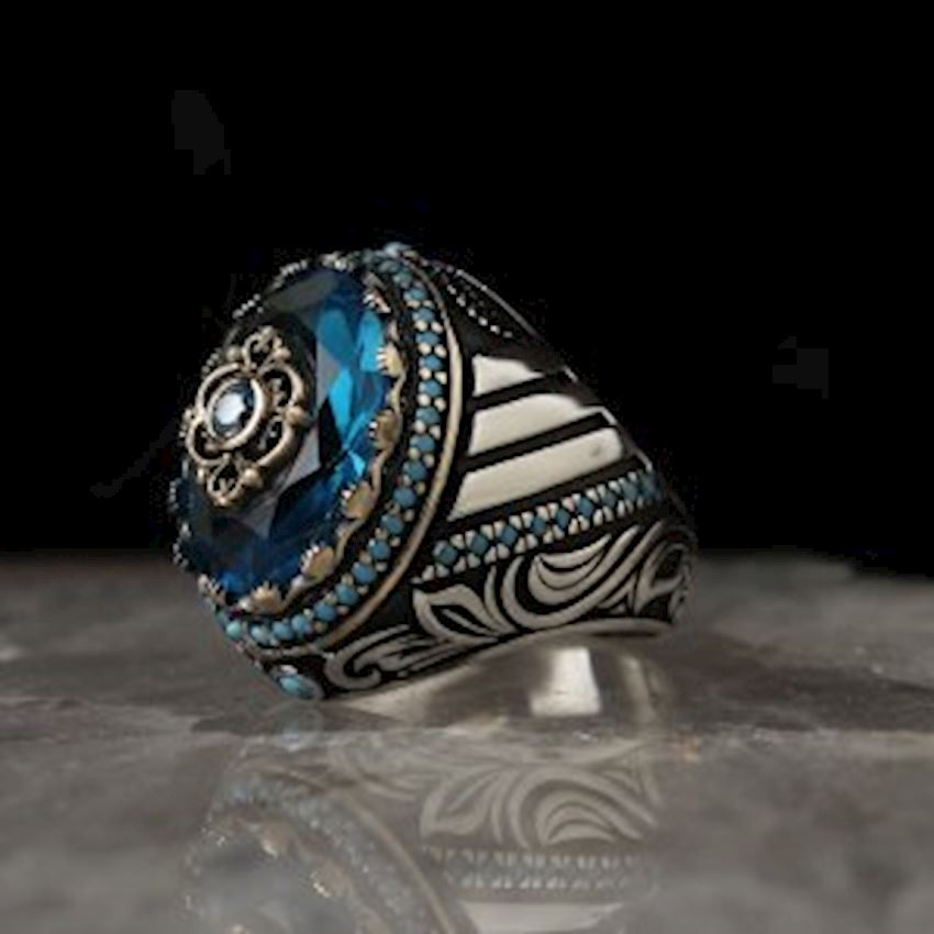 Blue Topaz Sterling Silver Men Ring