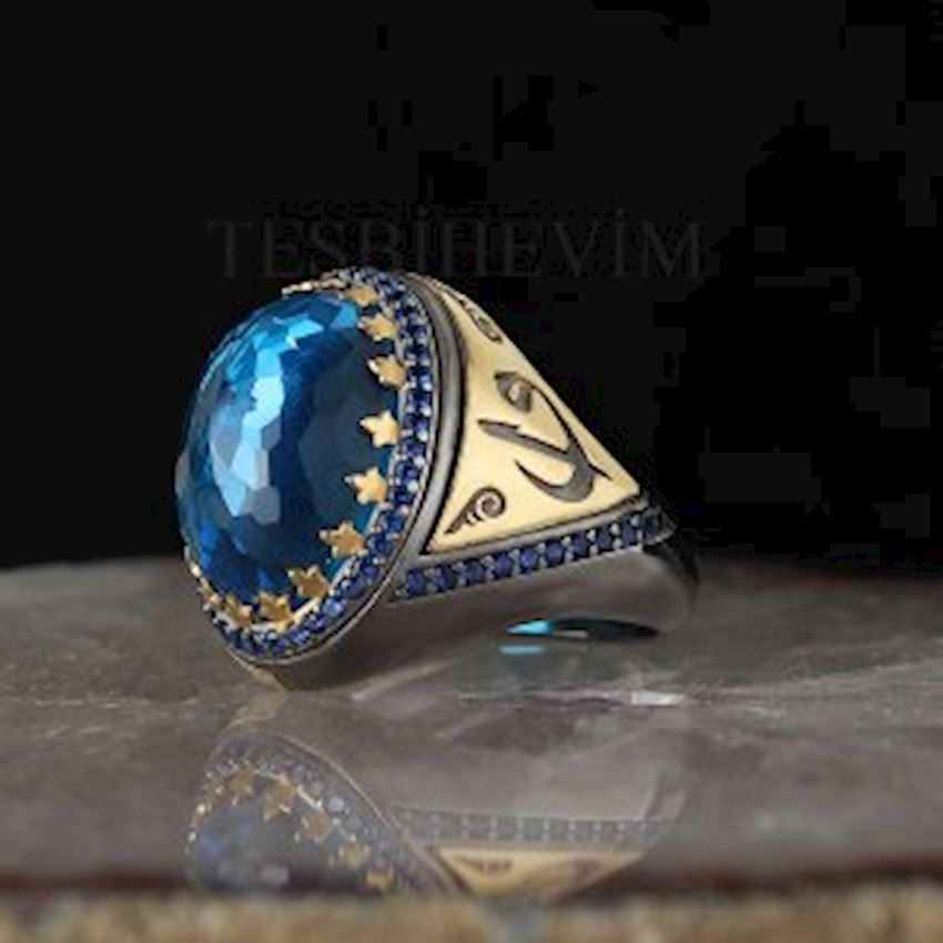 Blue Topaz Zirconia Plated Silver Men Ring
