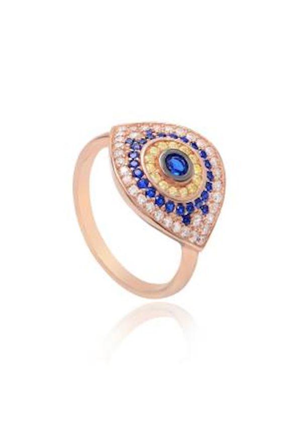Blue White Zirkon Eye Rose Ring