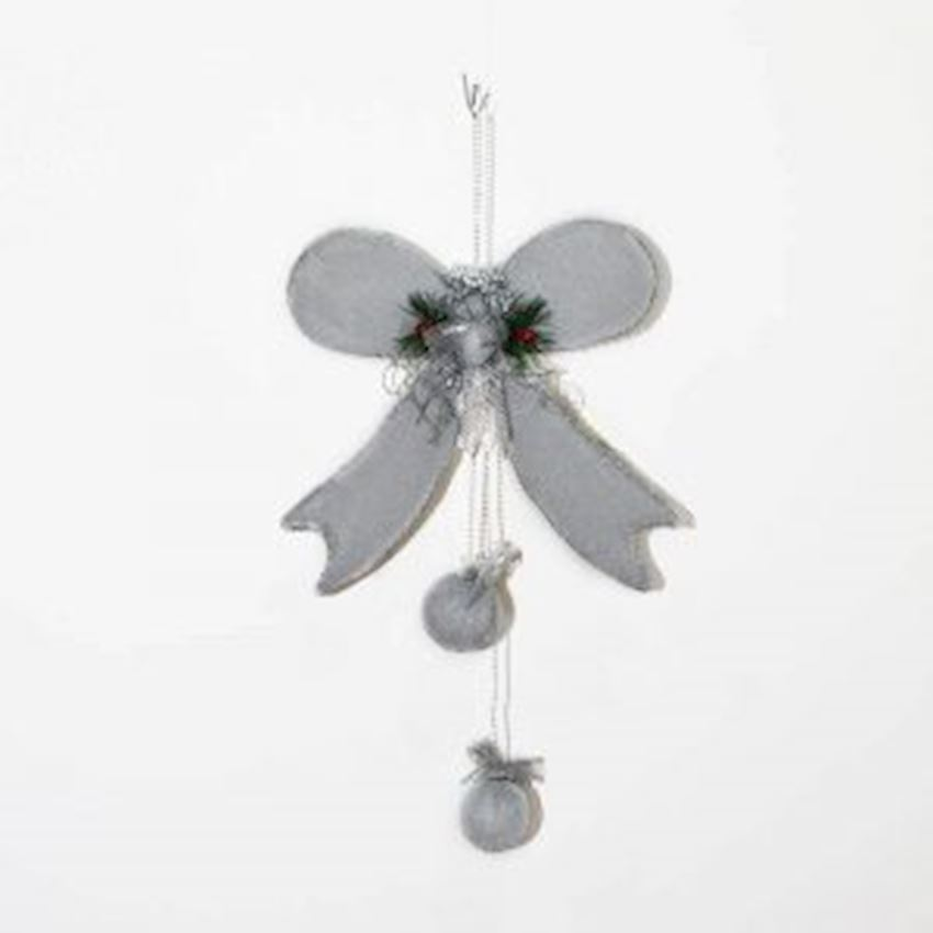 Bow Shaped Christmas Door Ceiling Ornament Silver 60cm Christmas Decoration Supplies