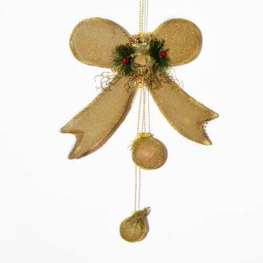 Bow Shaped Christmas Door Ceiling Ornament Yellow 60cm Christmas Decoration Supplies