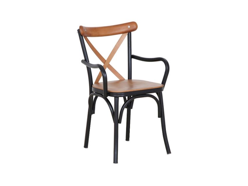 CARVED METAL CHAIR WITH ARM