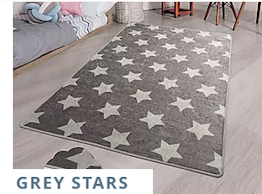 Child Carpet GREY STARS