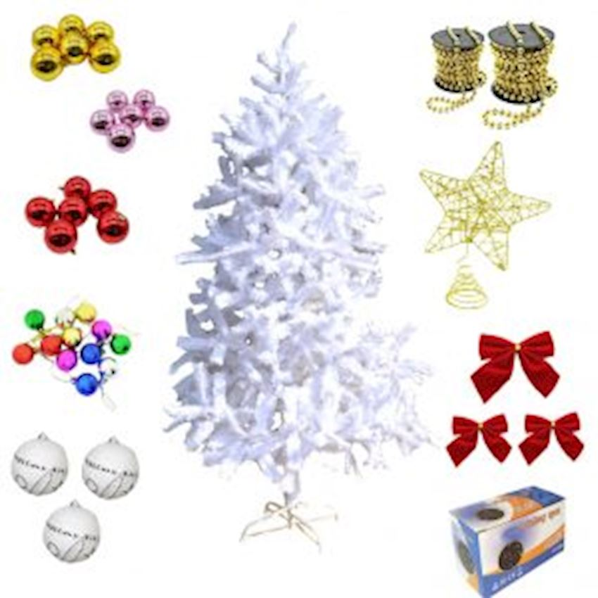 Christmas Tree and Decorations Set 150cm White Pine Tree & Lighting Christmas Decoration Supplies