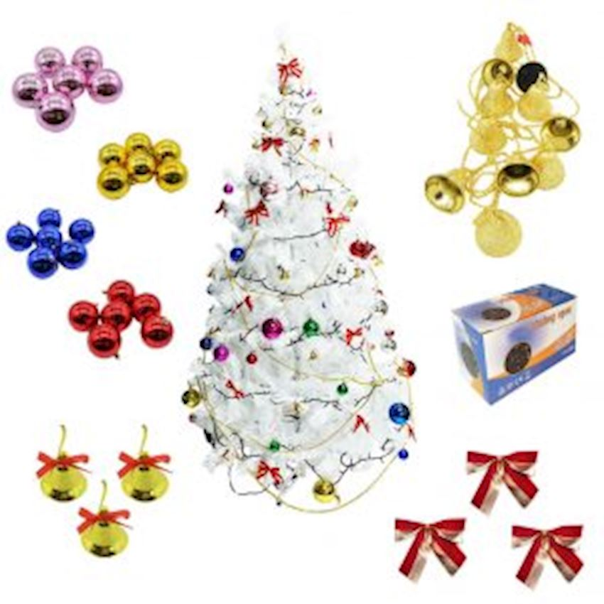 Christmas Tree and Decorations Set 180cm White Pine Tree & Lighting Christmas Decoration Supplies