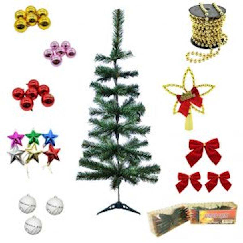 Christmas Tree Set 100cm Pine Tree & Lighting & Christmas Tree Decorations Christmas Decoration Supplies